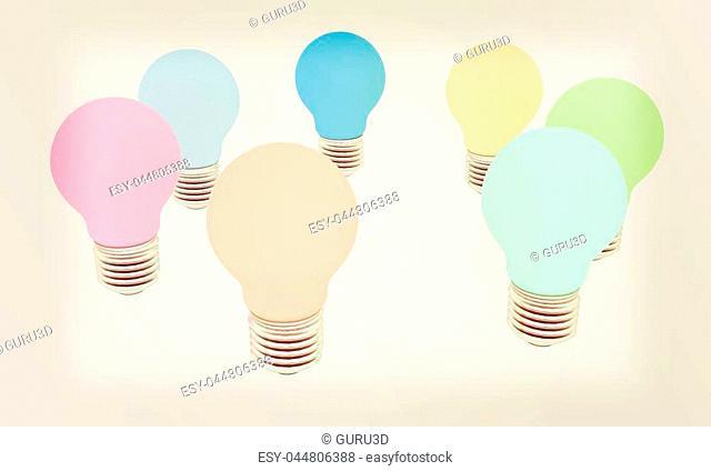 lamps. 3D illustration. Vintage style