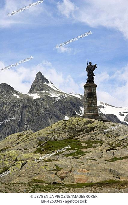 Statue of Saint Bernard, Grand Saint-Bernard, Great St Bernard Pass, Col du Grand-Saint-Bernard, Colle del Gran San Bernardo, Pennine, Valais Alps, Italy