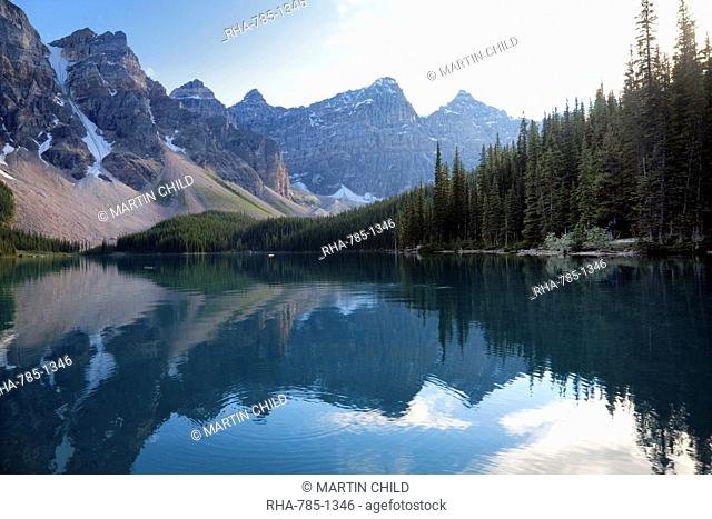 Reflections in Moraine Lake, Banff National Park, UNESCO World Heritage Site, Alberta, Rocky Mountains, Canada, North America