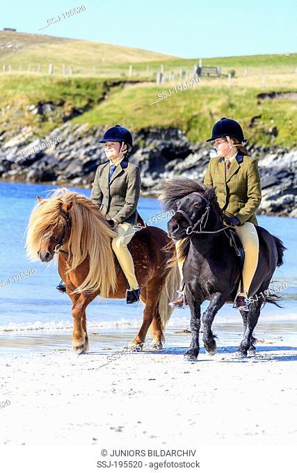 Shetland Pony. Pair of little girls riding on a beach. Burra, Shetlands