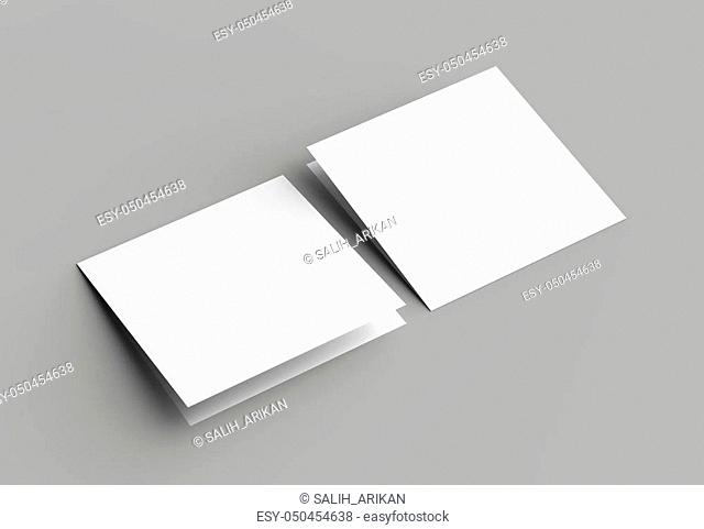 Bi fold square brochure or invitation mock up isolated on gray background