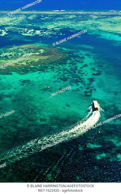 Aerial view, Le Phare Amedee Amedee Lighthouse, New Caledonia Barrier Reef a UNESCO World Heritage site, near Noumea, New Caledonia