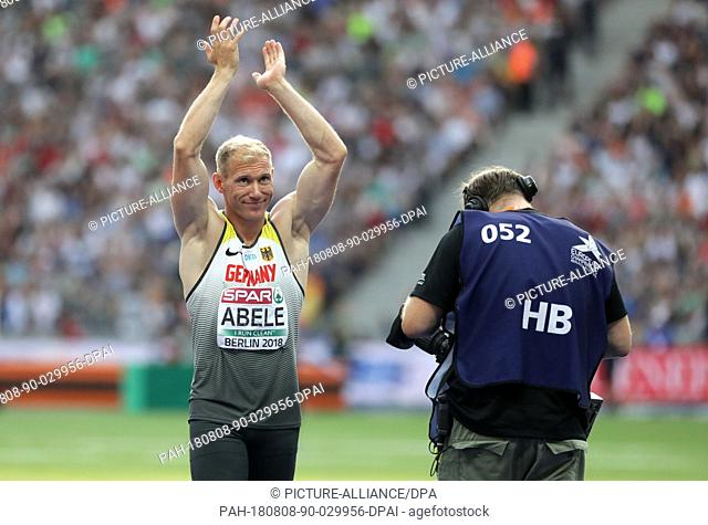 08 August 2018, Germany, Berlin: Athletics, European Championships in the Olympic Stadium: decathlon, javelin, men, Arthur Abele from Germany