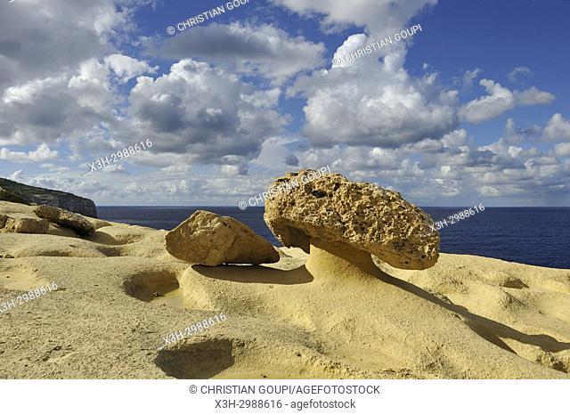 mushroom rock on the northwest coast of Gozo Island near Wied Il-Mielah, Gharb, Malta, Mediterranean Sea, Southern Europe