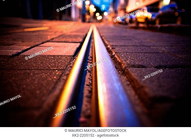 Close up of Tram rail road in Antwerp, Belgium