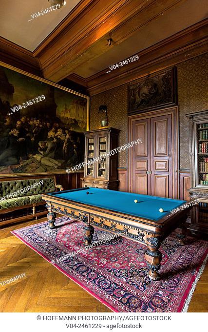 The poolroom in the Château de Montrésor (Montrésor Castle), Indre-et-Loire, France, Europe