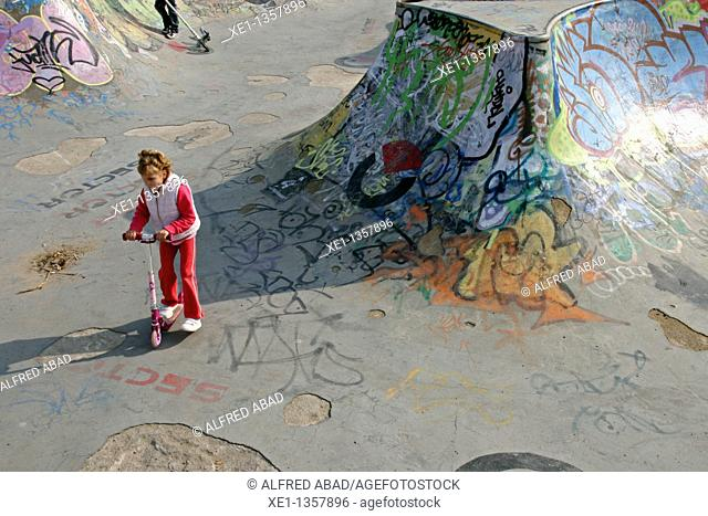 skatepark, girl, Mataro, Catalonia, Spain