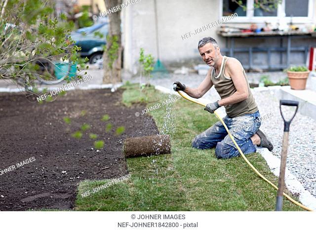 Man watering turf in garden