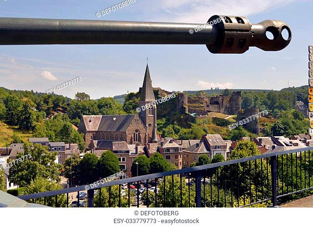 Tank barrel against the panorama of the Belgian City of La Roche