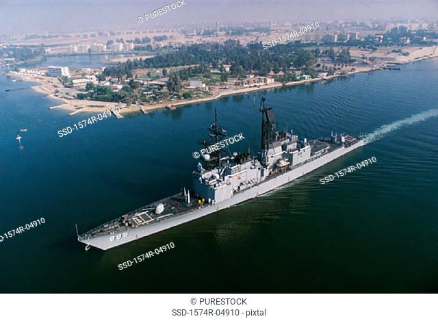 Aerial view of the USS Scott in the Suez Canal, Egypt
