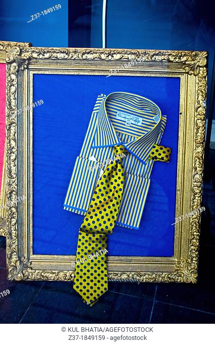 Stylish shirt and tie in an upscale store window, Ontario, Canada