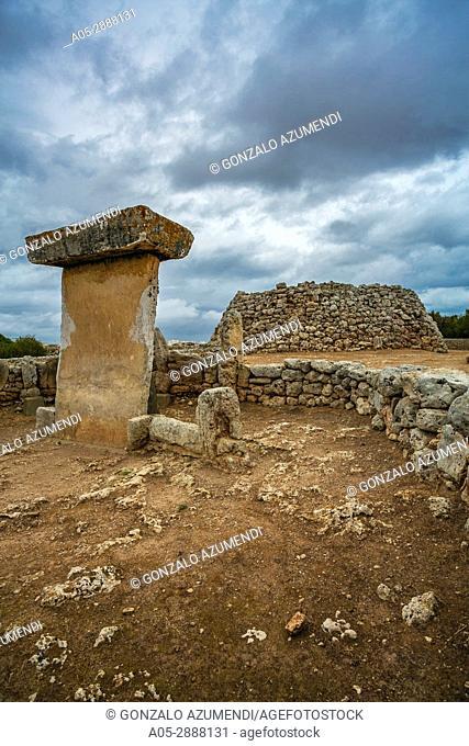 Taula of Trepuco (550-123 b C). Talayotic Village of Trepuco (800-450 b C). Mao Municipality. Minorca Island. Balearic Islands. Spain