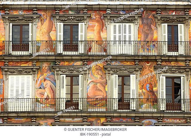 Mural painting, Casa de la Panadería, Plaza Mayor, Madrid, Spain