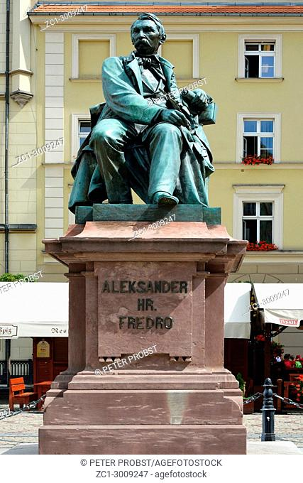 Statue of the Polish poet, playwright and comedy writer Aleksander Fredro in the Market Square in front of the Town Hall of Wroclaw - Poland