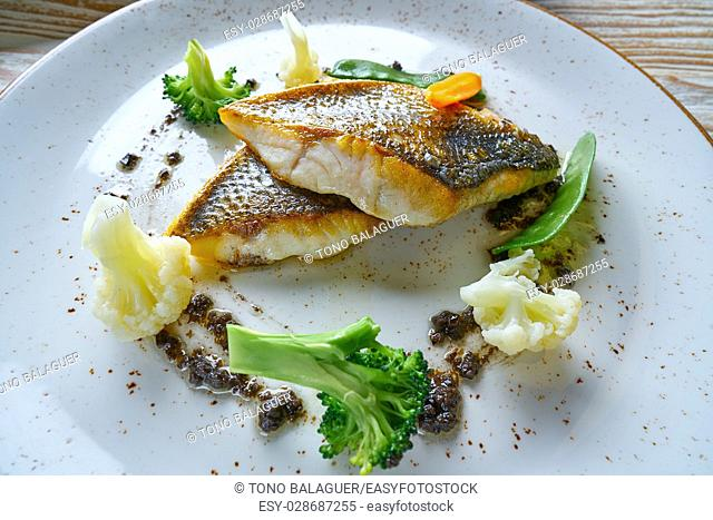Seabass sea bass with stir fried vegetables recipe
