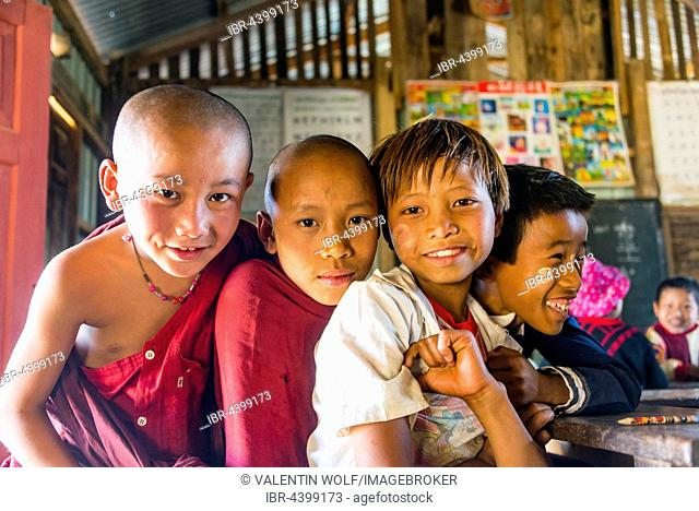 School children at school, posing for camera, Shan State, Myanmar