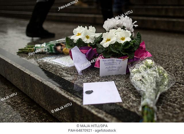 Flowers laud outside the main station in Cologne, Germany, 07 January 2016. Police say several women were sexually assaulted and mugged outside Cologne's main...