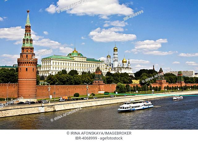 Moscow Kremlin with Grand Kremlin Palace, Cathedral of the Archangel, Cathedral of the Annunciation and the bell tower of Ivan the Great, excursion boat