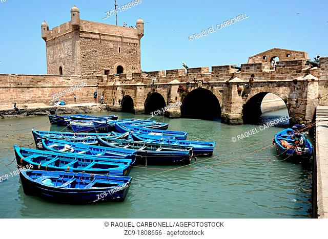 Boats docked in the Skala du port, Essaouira, Morocco