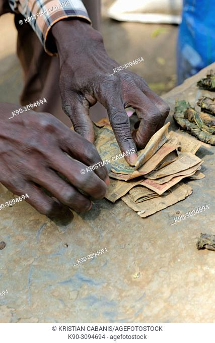 Hands of an old man, counting money, Ethiopia, East Africa