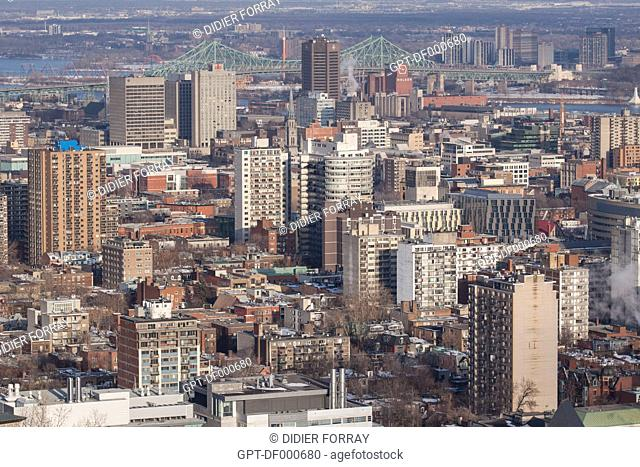 URBAN PANORAMA OF THE CITY OF MONTREAL, QUEBEC, CANADA