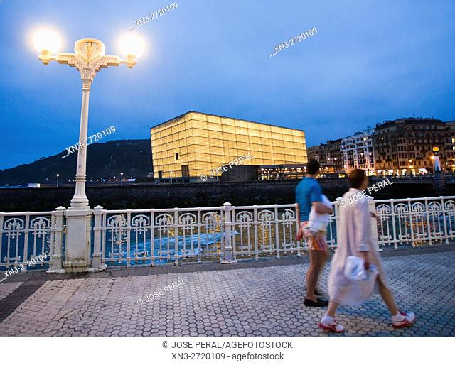 Kursaal Palace by the architect Rafael Moneo and Zurriola, river Urumea, Donostia, San Sebastian, Gipuzqua province, Euskadi, Spain, Europe