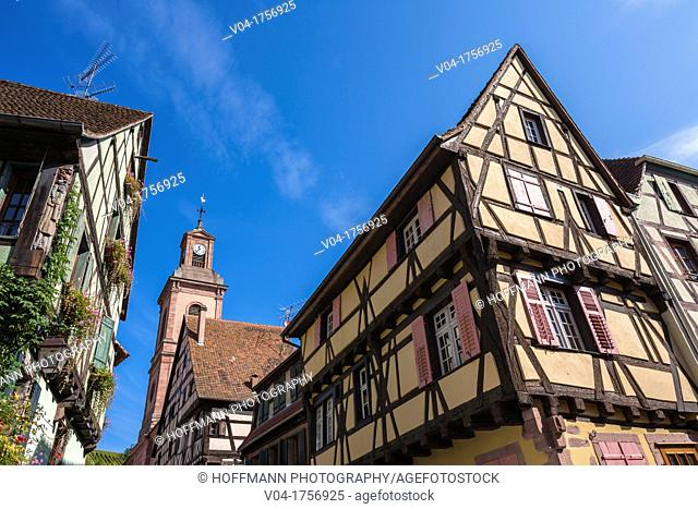 Charming traditional houses in Riquewihr, Alsace, France, Europe