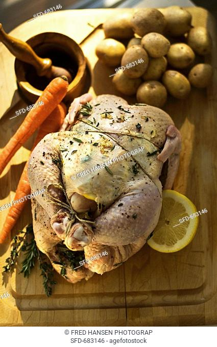 Prepared Chicken For Roasting with Lemon Herb Rub