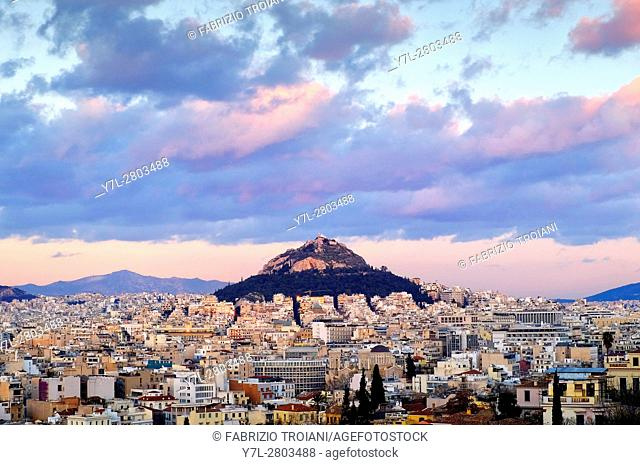 View of Mount Lycabettus, Athens, Greece