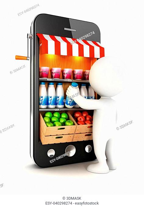 3d white people at supermarket, isolated white background, 3d image