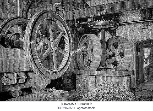 Crushing machines in sanding factory, woodcut, historical engraving, 1882