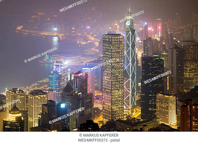 China, Hong Kong, Central and Wan Chai at night