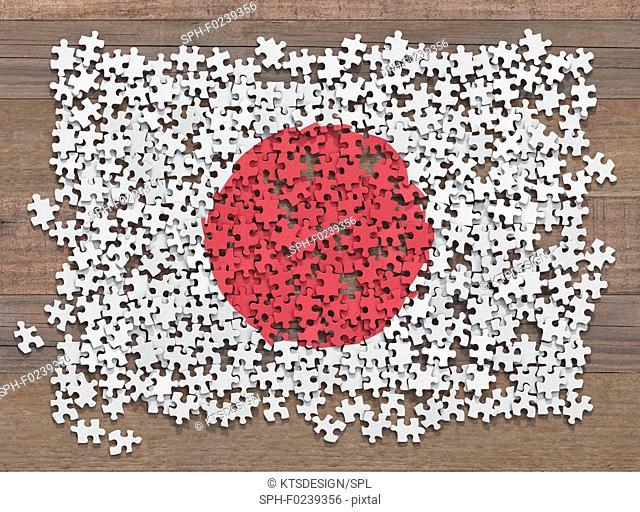 Japanese flag jigsaw puzzle, illustration