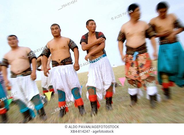 Mongolian wrestling, Amugulang, Inner Mongolia, China