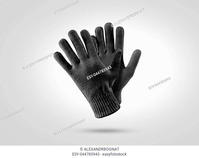 Blank black knitted winter gloves mockup. Clear ski or snowboard mittens mock up, isolated. Warm hand clothes design template