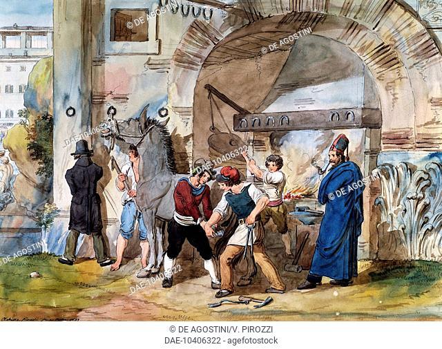 Farrier in Rome at the Trevi Fountain, watercolour by Achille Pinelli (1809-1841). Italy, 19th century.  Rome, Istituto Nazionale per la Grafica