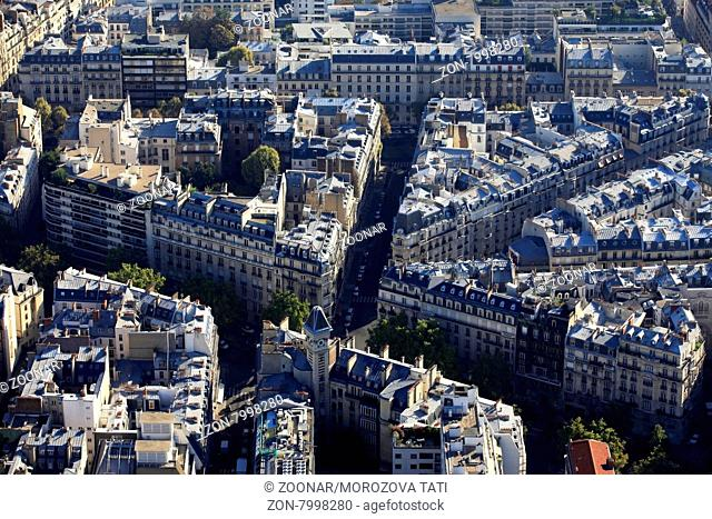 Aerial view at Paris architecture from the Eiffel tower
