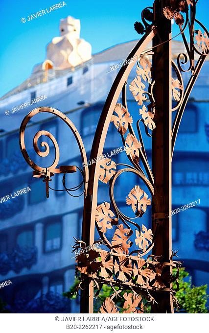 Floral detail streetlights. Casa Milà. La Pedrera. Passeig de Gracia. Barcelona. Catalonia. Spain