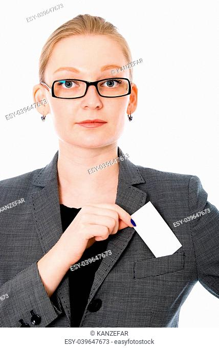 Portrait of a business woman with a credit card. Isolated on white background
