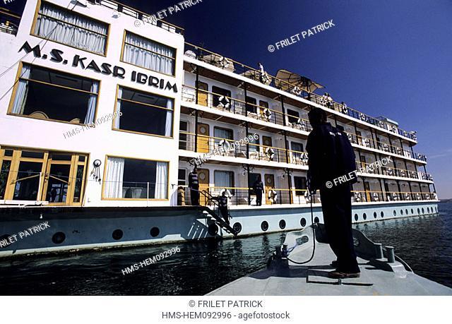 Egypt, Nubia, Lake Nasser, Kasr Ibrim cruise ship