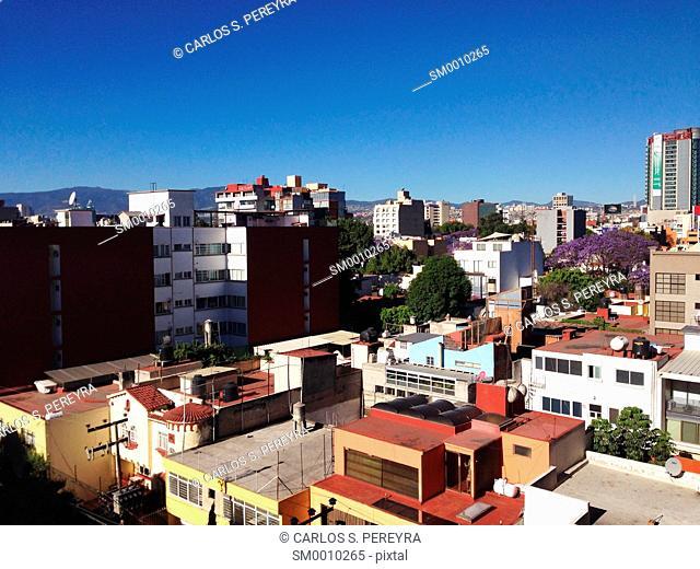 View of Colonia del Valle in Mexico City, Mexico