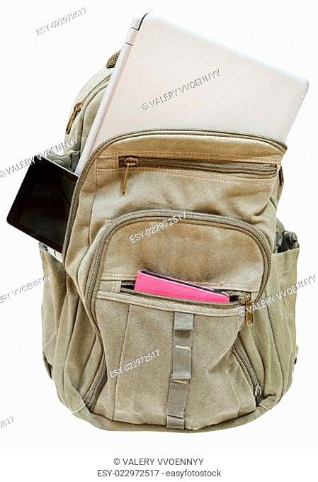 travel back pack with mobile devices isolated