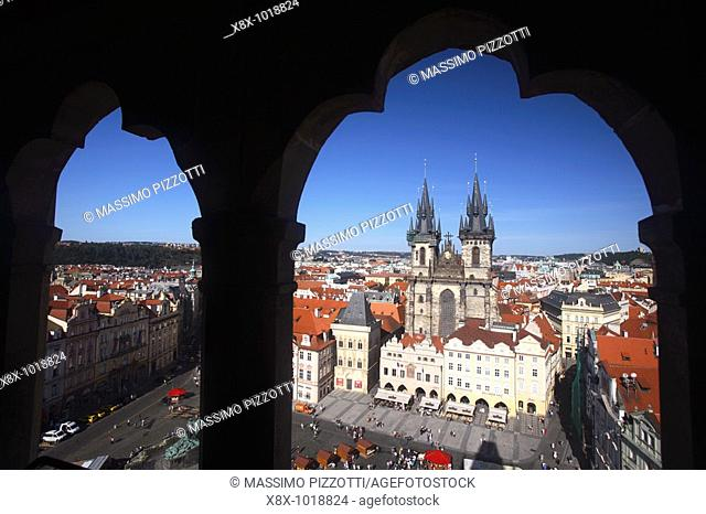 View of the Old Town and the Tyn Church from the Astronomical Clock Tower, Prague, CZ