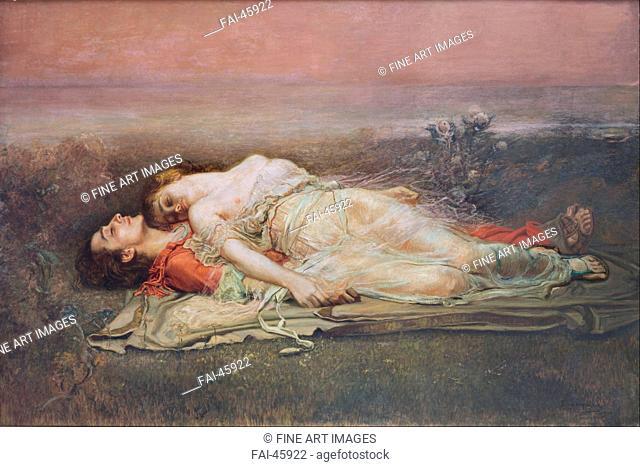 Tristan and Iseult by Egusquiza y Barrena, Rogelio de (1845-1915)/Oil on canvas/Symbolism/1910/Spain/Museo de Bellas Artes de Bilbao/160x240/Mythology