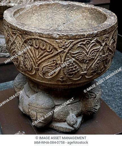 Swedish medieval stone Stoup. Dated 12th Century