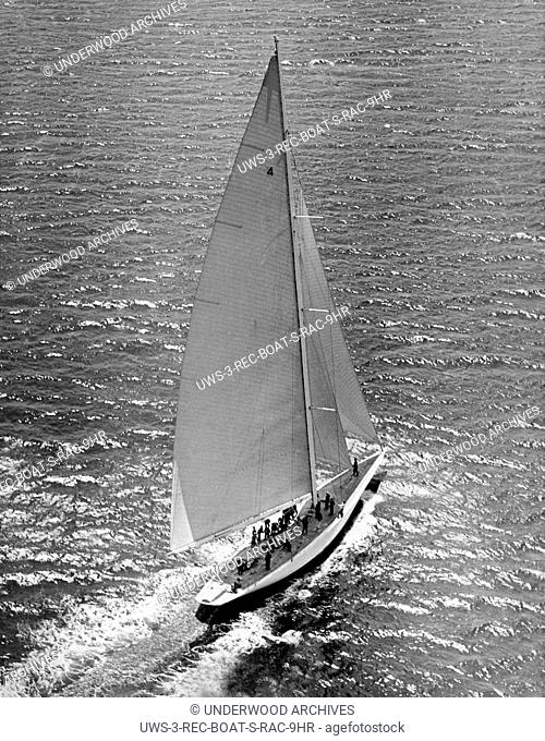Marblehead, Massachusetts: February, 1937.Harold Vanderbilt's Rainbow, the 1934 America's Cup defender, which is rumored to have been purchased by Chandler...