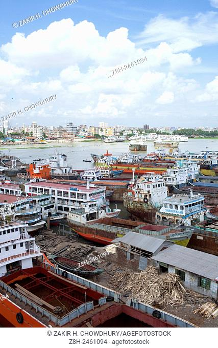 DHAKA, BANGLADESH - 17th June : Wide view of shipyard are in the bank of the river Buriganga near Dhaka.