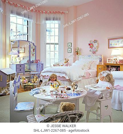 CHILDREN'S BEDROOM: Girl's bedroom. Dolls and bears and a tea table. Dollhouse, pale pink walls, sheer valances tied to rod with pink ribbons