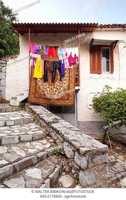 Greece, Central Greece Region, Delphi, house and laundry