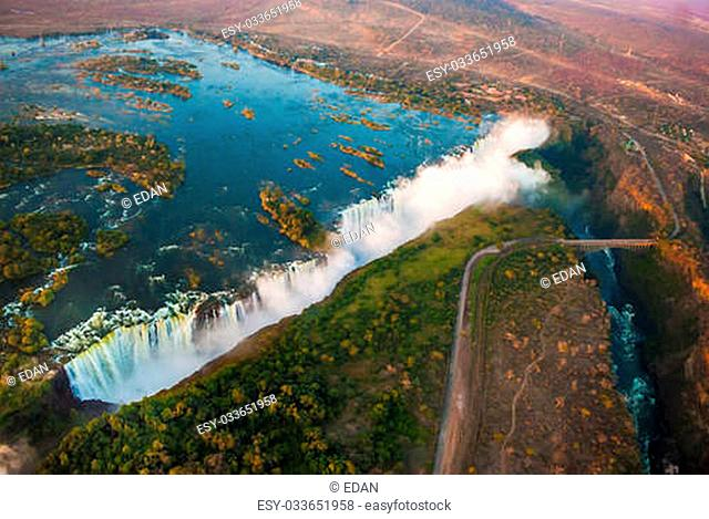 Victoria Falls from the air in the afternoon